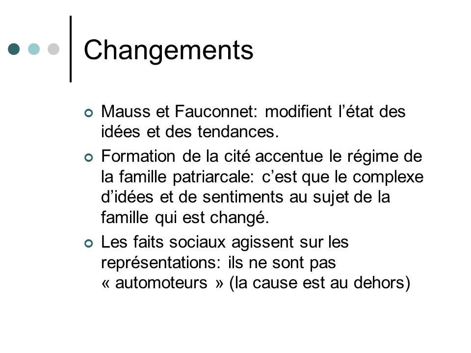 Changements Mauss et Fauconnet: modifient létat des idées et des tendances.