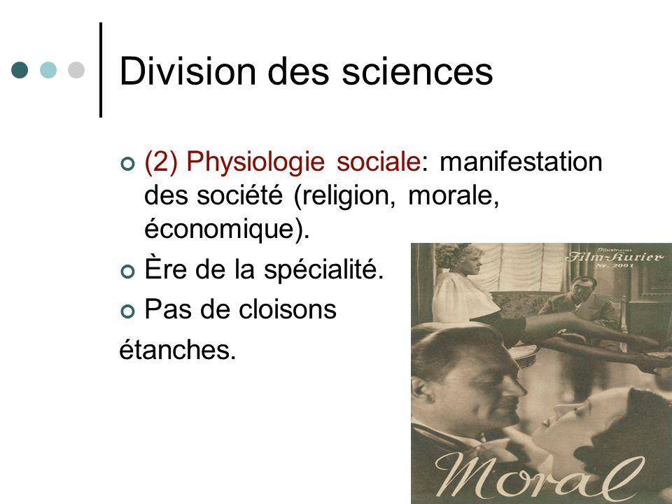 Division des sciences (2) Physiologie sociale: manifestation des société (religion, morale, économique).