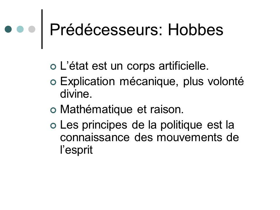 Prédécesseurs: Hobbes Létat est un corps artificielle.