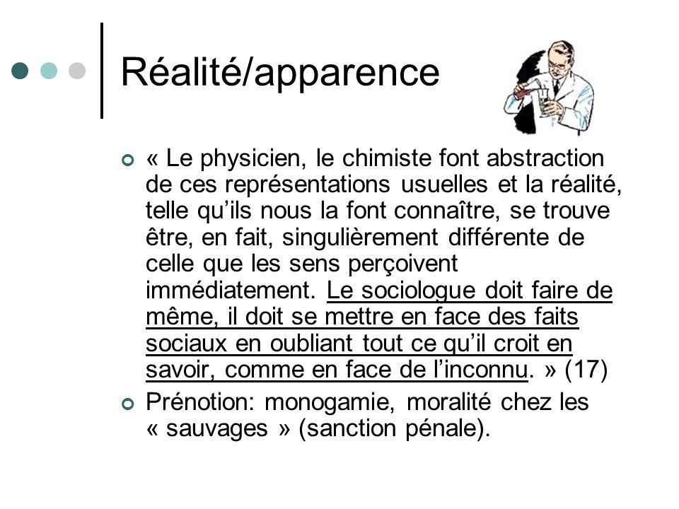 Réalité/apparence « Le physicien, le chimiste font abstraction de ces représentations usuelles et la réalité, telle quils nous la font connaître, se trouve être, en fait, singulièrement différente de celle que les sens perçoivent immédiatement.