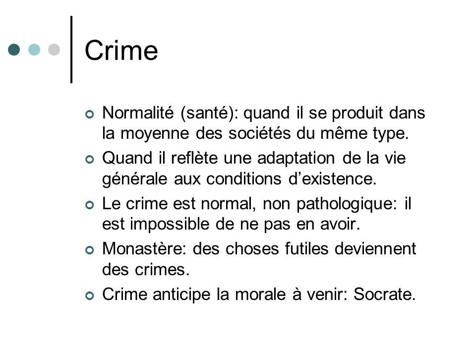 Crime Normalité (santé): quand il se produit dans la moyenne des sociétés du même type.