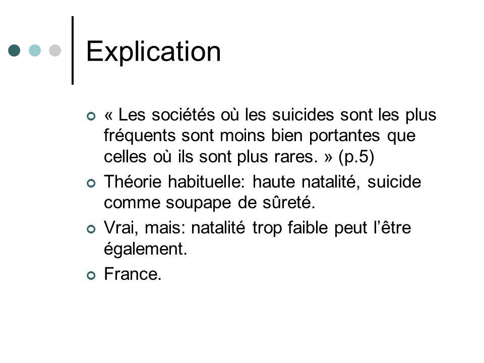 Explication « Les sociétés où les suicides sont les plus fréquents sont moins bien portantes que celles où ils sont plus rares.