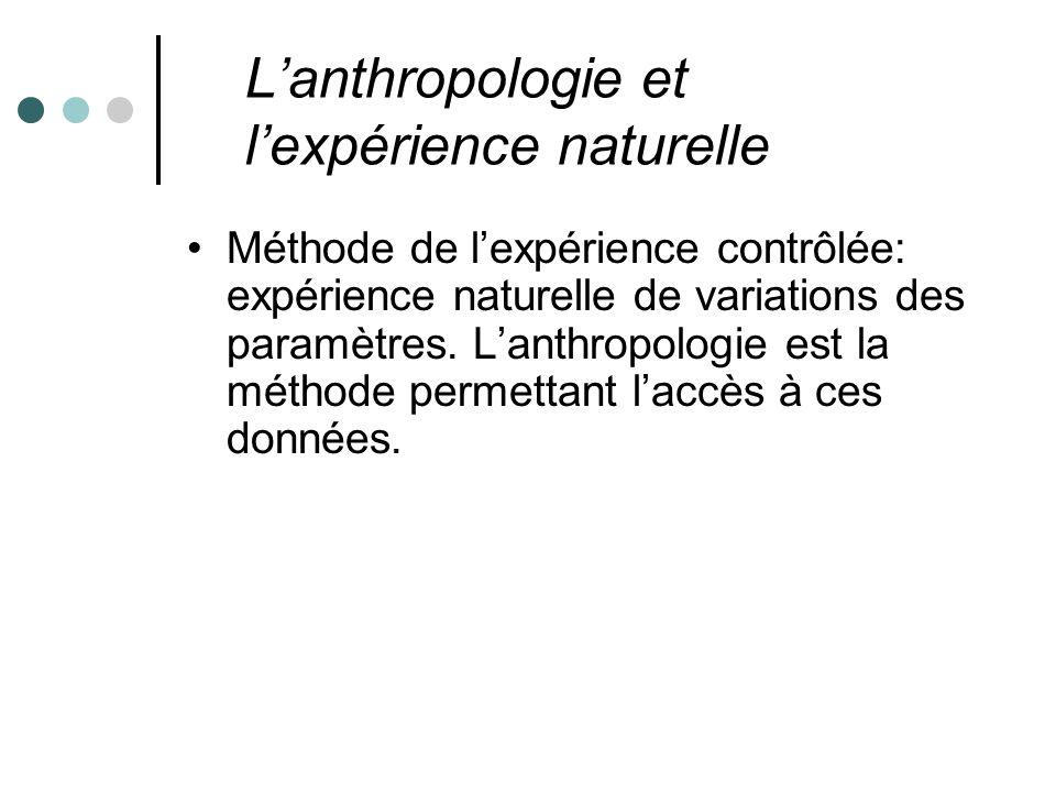 Lanthropologie et lexpérience naturelle Méthode de lexpérience contrôlée: expérience naturelle de variations des paramètres.