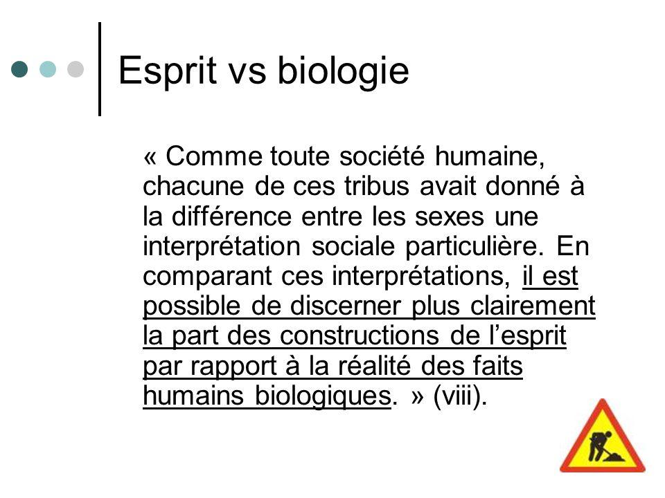 Esprit vs biologie « Comme toute société humaine, chacune de ces tribus avait donné à la différence entre les sexes une interprétation sociale particulière.