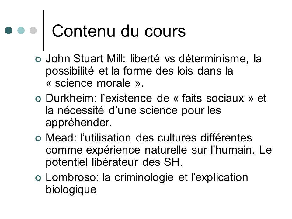 1. J. S. Mill (1806-1873): les sciences morales