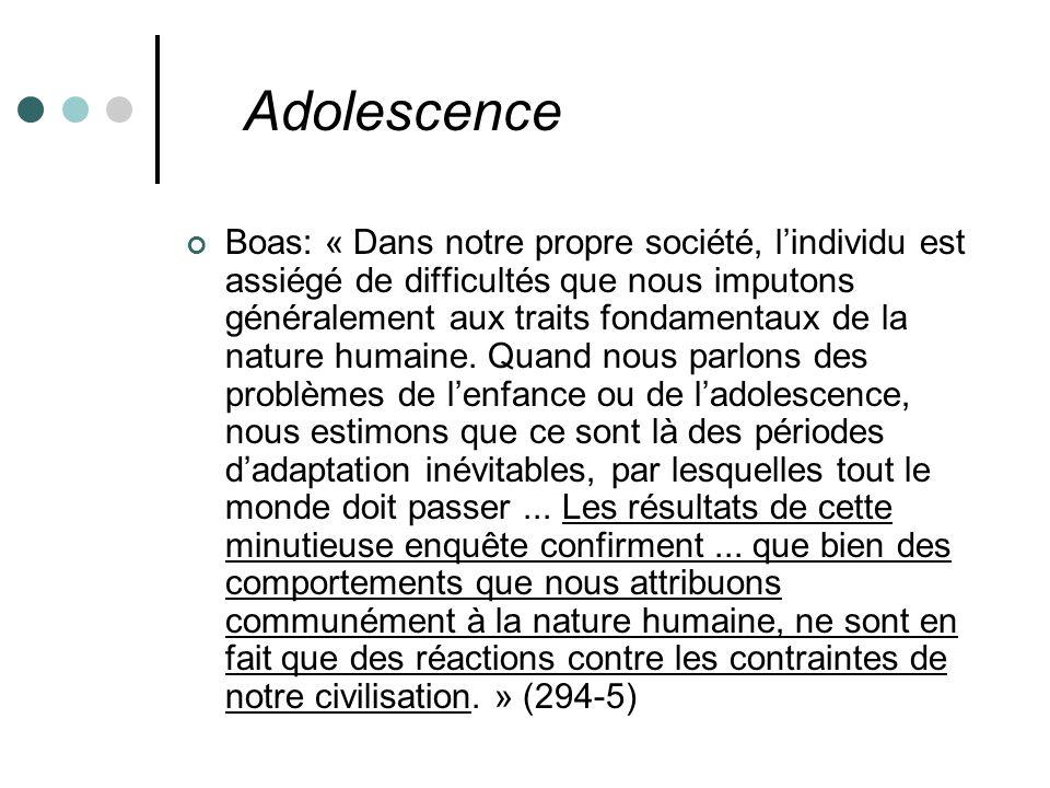 Adolescence Boas: « Dans notre propre société, lindividu est assiégé de difficultés que nous imputons généralement aux traits fondamentaux de la nature humaine.