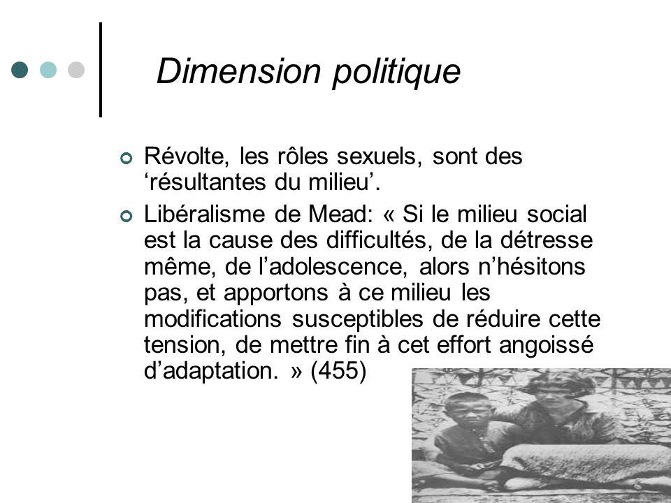 Dimension politique Révolte, les rôles sexuels, sont des résultantes du milieu.