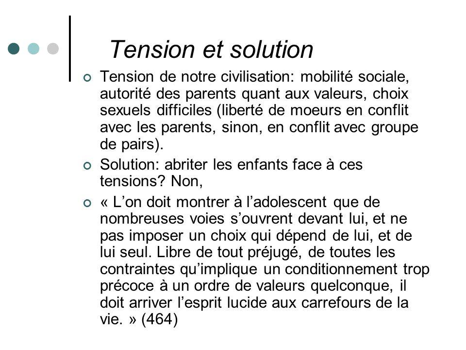 Tension et solution Tension de notre civilisation: mobilité sociale, autorité des parents quant aux valeurs, choix sexuels difficiles (liberté de moeurs en conflit avec les parents, sinon, en conflit avec groupe de pairs).
