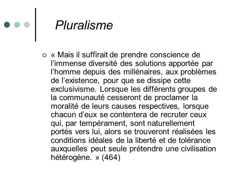 Pluralisme « Mais il suffirait de prendre conscience de limmense diversité des solutions apportée par lhomme depuis des millénaires, aux problèmes de lexistence, pour que se dissipe cette exclusivisme.