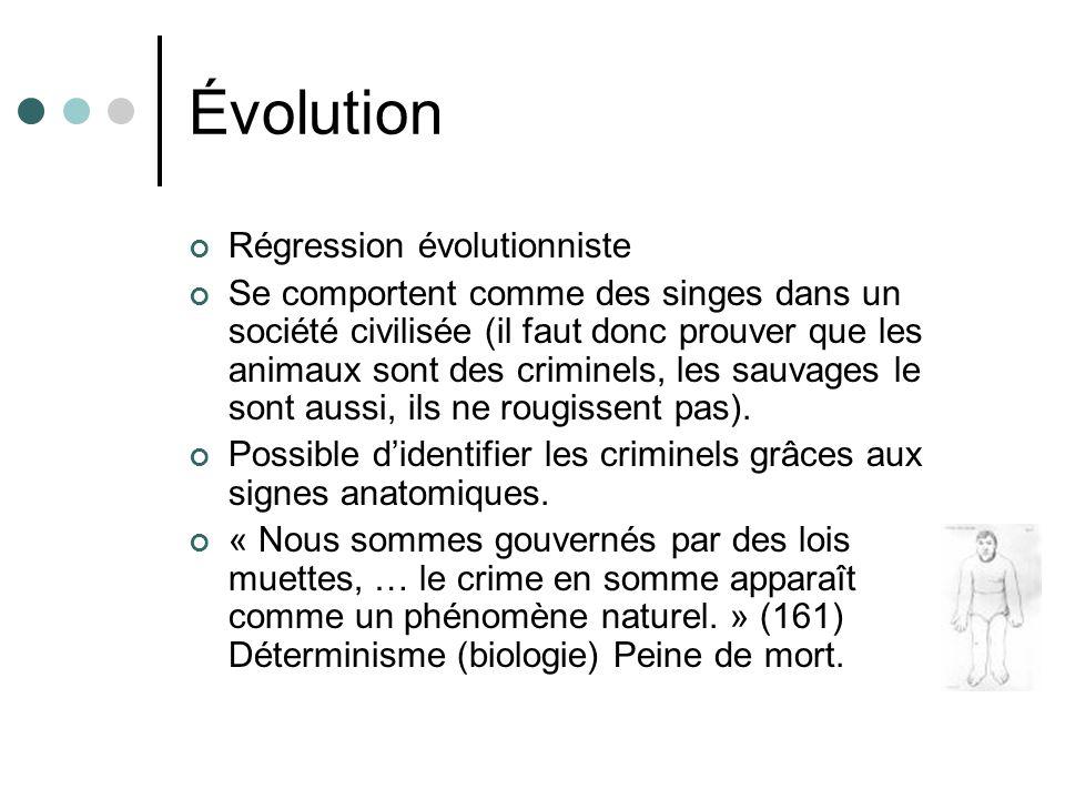 Évolution Régression évolutionniste Se comportent comme des singes dans un société civilisée (il faut donc prouver que les animaux sont des criminels, les sauvages le sont aussi, ils ne rougissent pas).