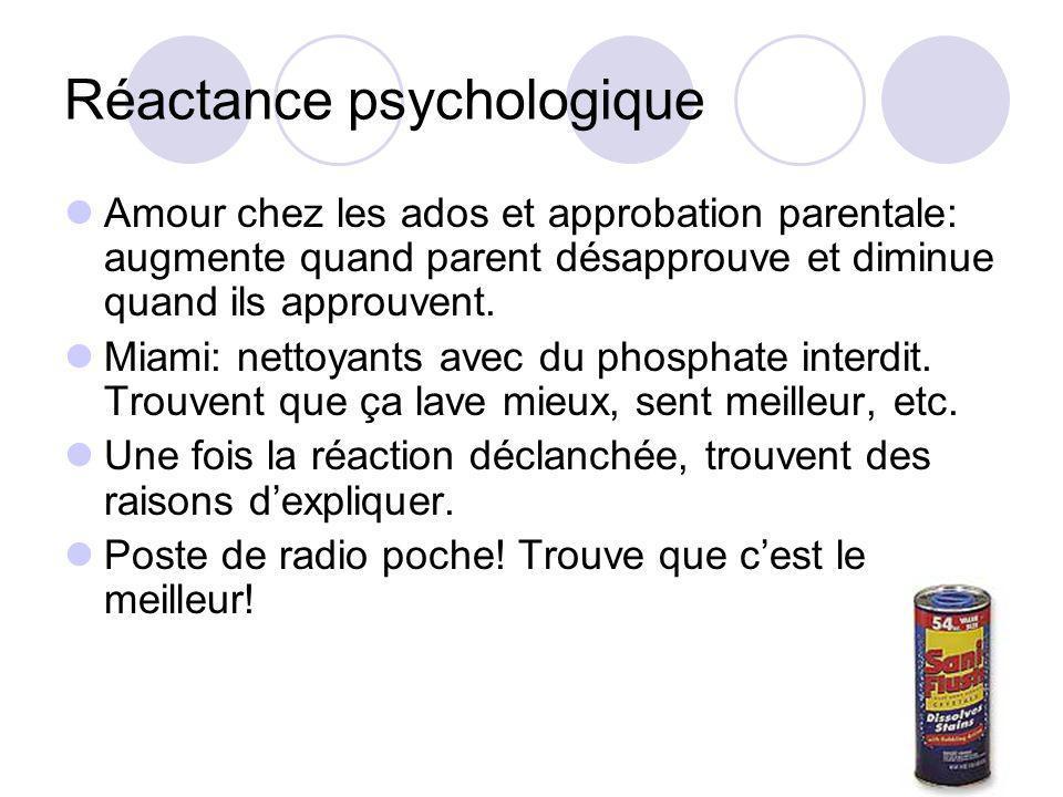 Réactance psychologique Limitation daccès crée évaluation supérieure.