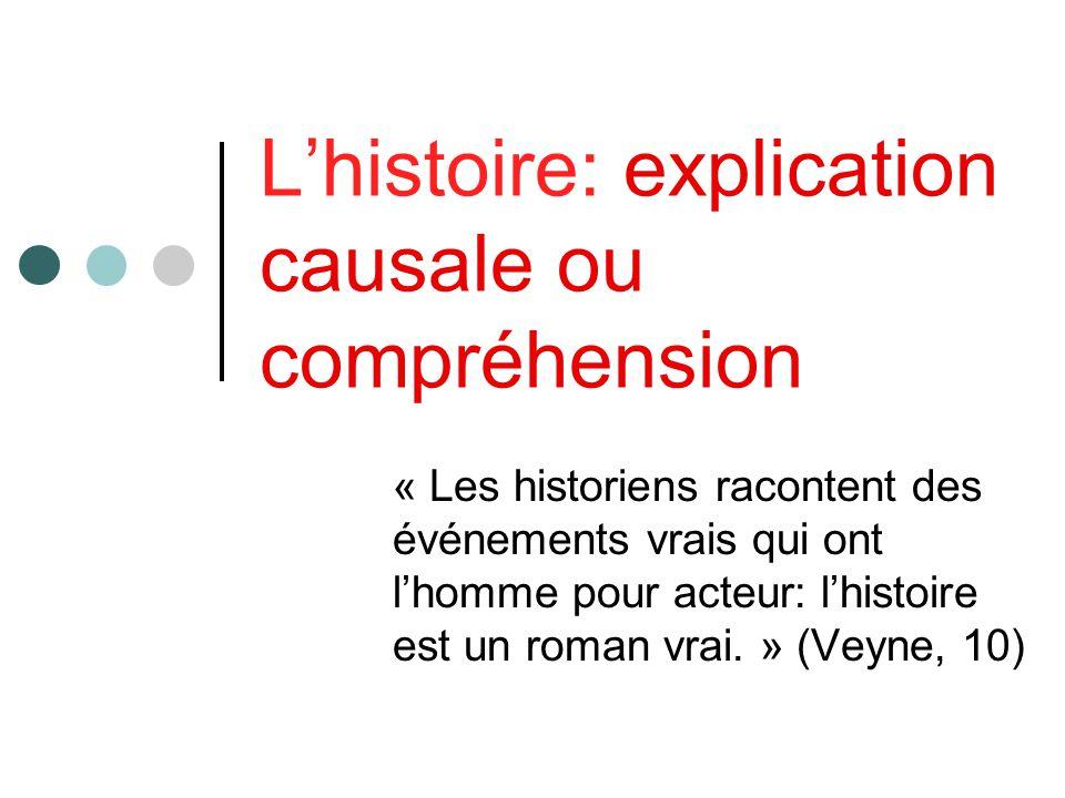 Lhistoire: explication causale ou compréhension « Les historiens racontent des événements vrais qui ont lhomme pour acteur: lhistoire est un roman vra