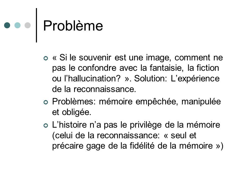 Problème « Si le souvenir est une image, comment ne pas le confondre avec la fantaisie, la fiction ou lhallucination? ». Solution: Lexpérience de la r