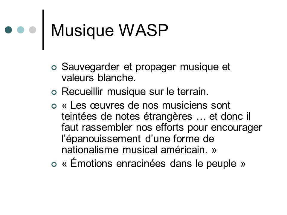 Musique WASP Sauvegarder et propager musique et valeurs blanche. Recueillir musique sur le terrain. « Les œuvres de nos musiciens sont teintées de not