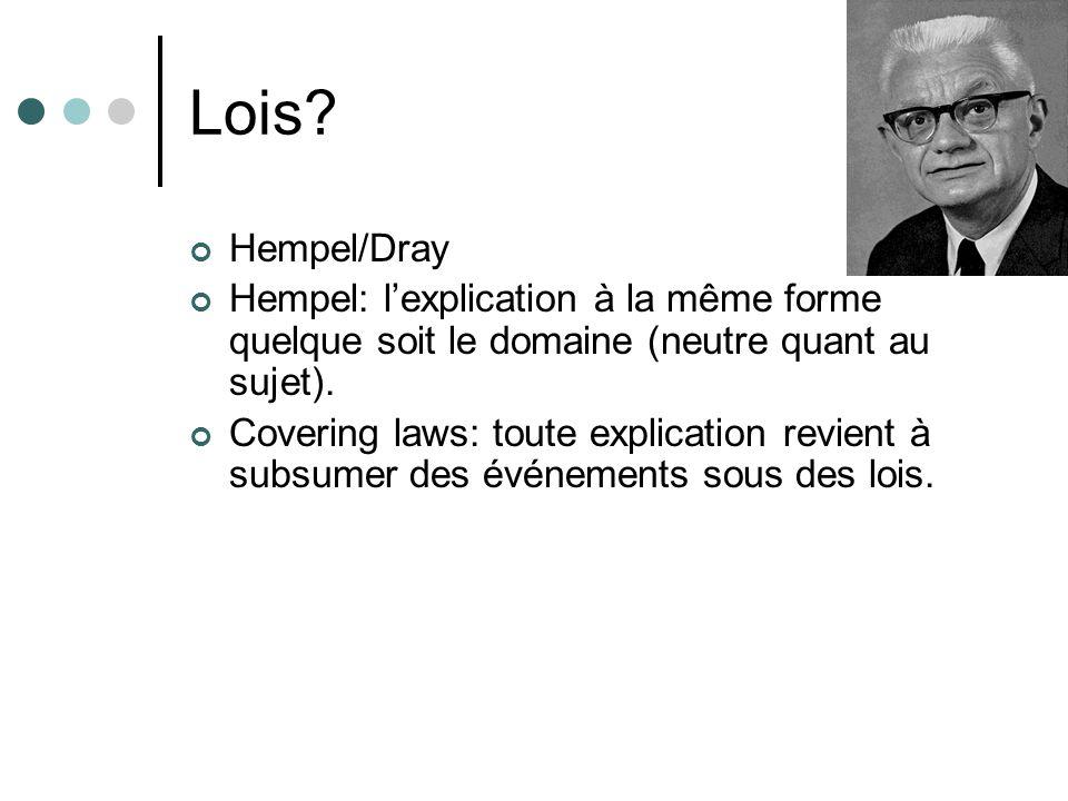 Lois? Hempel/Dray Hempel: lexplication à la même forme quelque soit le domaine (neutre quant au sujet). Covering laws: toute explication revient à sub