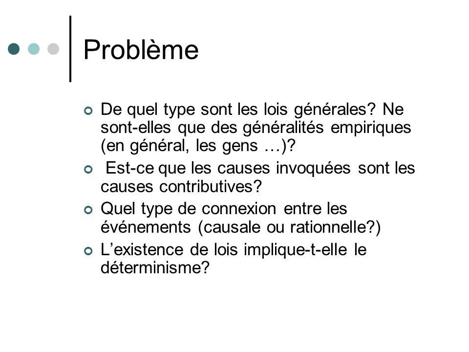 Problème De quel type sont les lois générales? Ne sont-elles que des généralités empiriques (en général, les gens …)? Est-ce que les causes invoquées