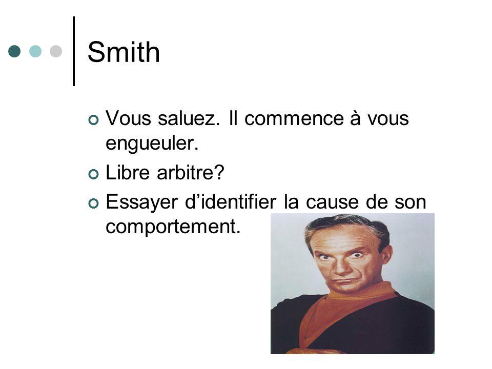 Smith Vous saluez. Il commence à vous engueuler. Libre arbitre? Essayer didentifier la cause de son comportement.