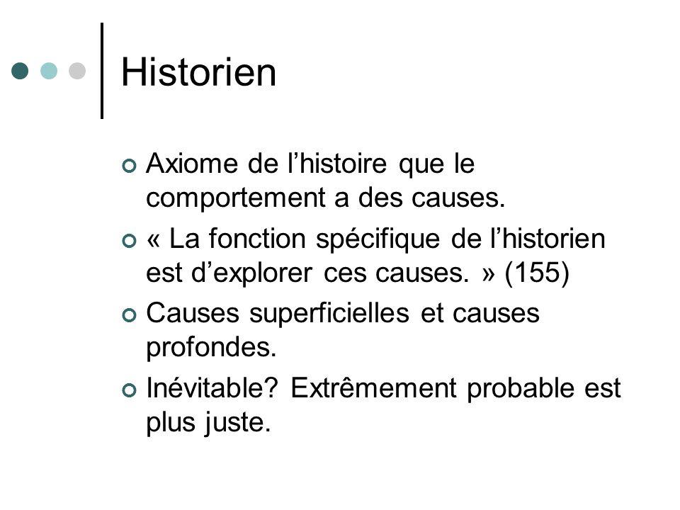 Historien Axiome de lhistoire que le comportement a des causes. « La fonction spécifique de lhistorien est dexplorer ces causes. » (155) Causes superf