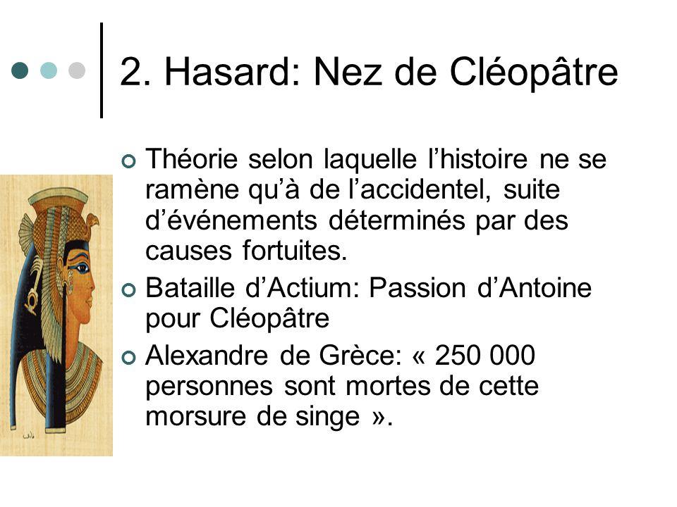 2. Hasard: Nez de Cléopâtre Théorie selon laquelle lhistoire ne se ramène quà de laccidentel, suite dévénements déterminés par des causes fortuites. B