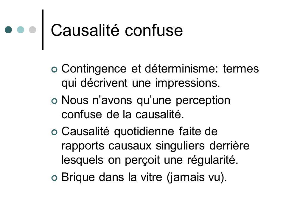 Causalité confuse Contingence et déterminisme: termes qui décrivent une impressions. Nous navons quune perception confuse de la causalité. Causalité q