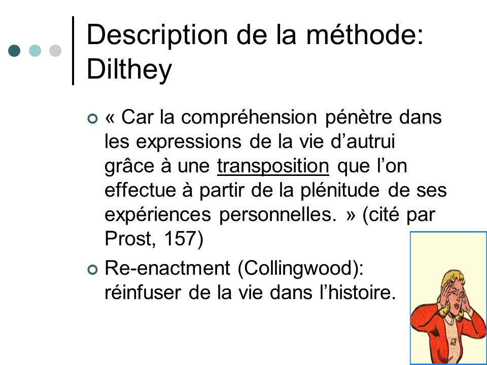 Description de la méthode: Dilthey « Car la compréhension pénètre dans les expressions de la vie dautrui grâce à une transposition que lon effectue à