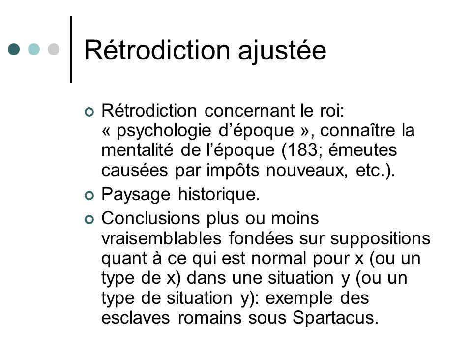Rétrodiction ajustée Rétrodiction concernant le roi: « psychologie dépoque », connaître la mentalité de lépoque (183; émeutes causées par impôts nouve