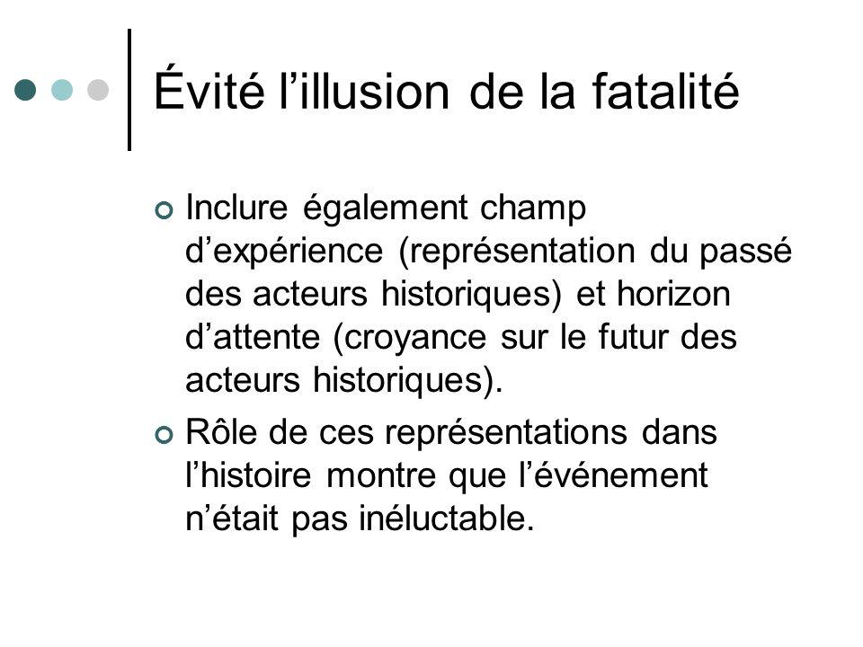 Évité lillusion de la fatalité Inclure également champ dexpérience (représentation du passé des acteurs historiques) et horizon dattente (croyance sur