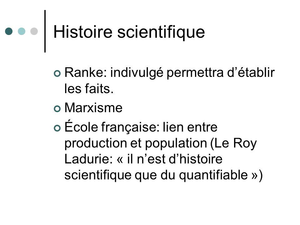 Histoire scientifique Ranke: indivulgé permettra détablir les faits. Marxisme École française: lien entre production et population (Le Roy Ladurie: «
