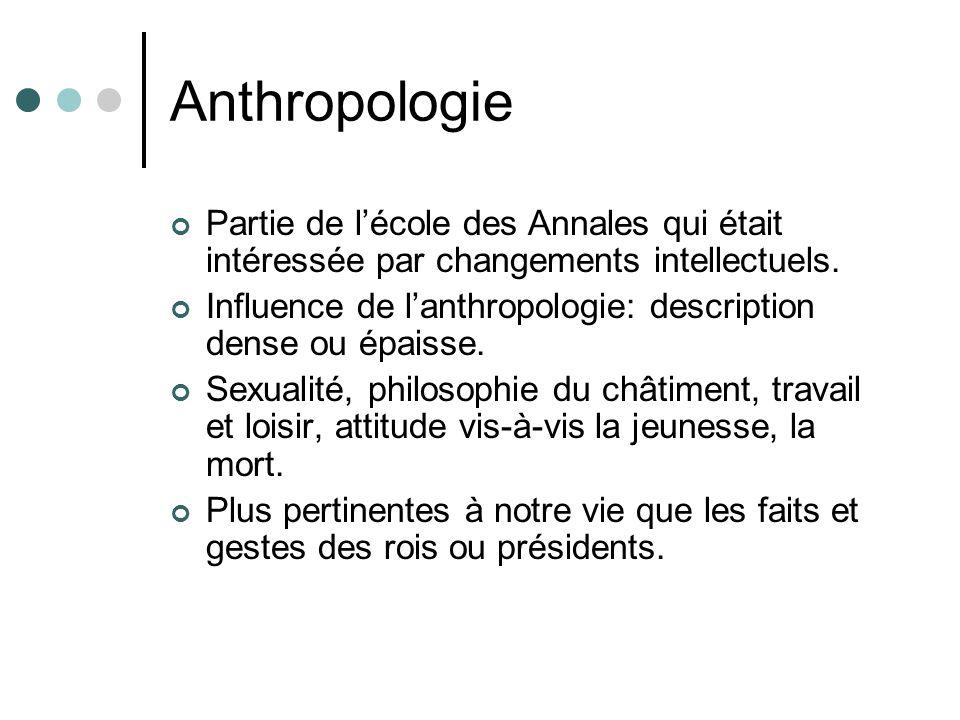 Anthropologie Partie de lécole des Annales qui était intéressée par changements intellectuels. Influence de lanthropologie: description dense ou épais
