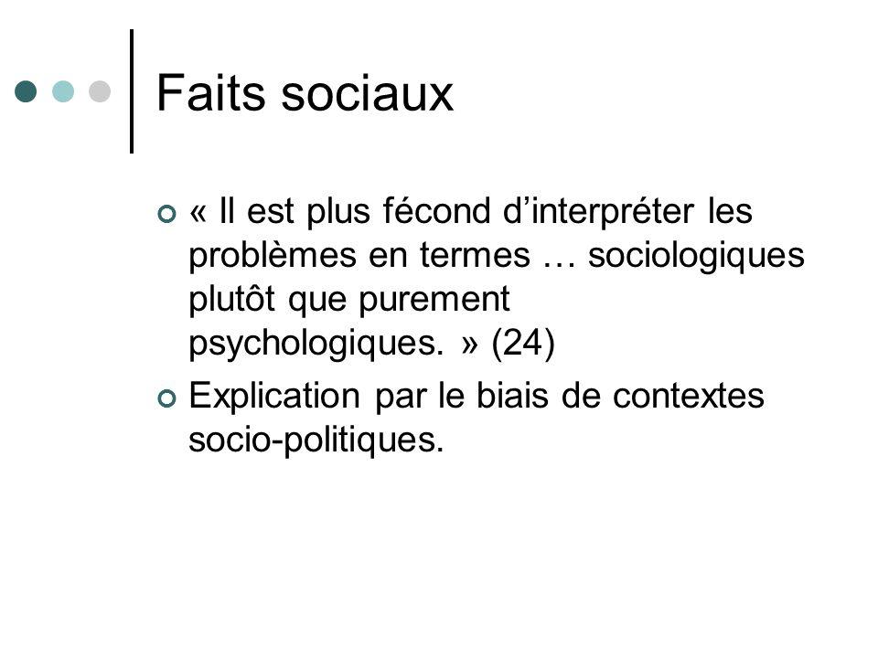 Faits sociaux « Il est plus fécond dinterpréter les problèmes en termes … sociologiques plutôt que purement psychologiques. » (24) Explication par le