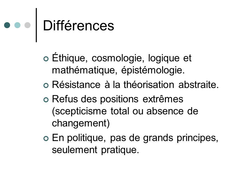 Différences Éthique, cosmologie, logique et mathématique, épistémologie. Résistance à la théorisation abstraite. Refus des positions extrêmes (sceptic