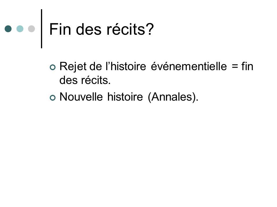 Fin des récits? Rejet de lhistoire événementielle = fin des récits. Nouvelle histoire (Annales).