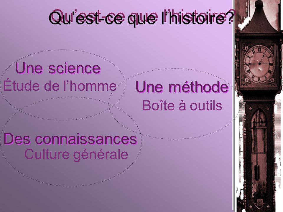 Une science Des connaissances Une méthode Étude de lhomme Boîte à outils Culture générale Quest-ce que lhistoire?