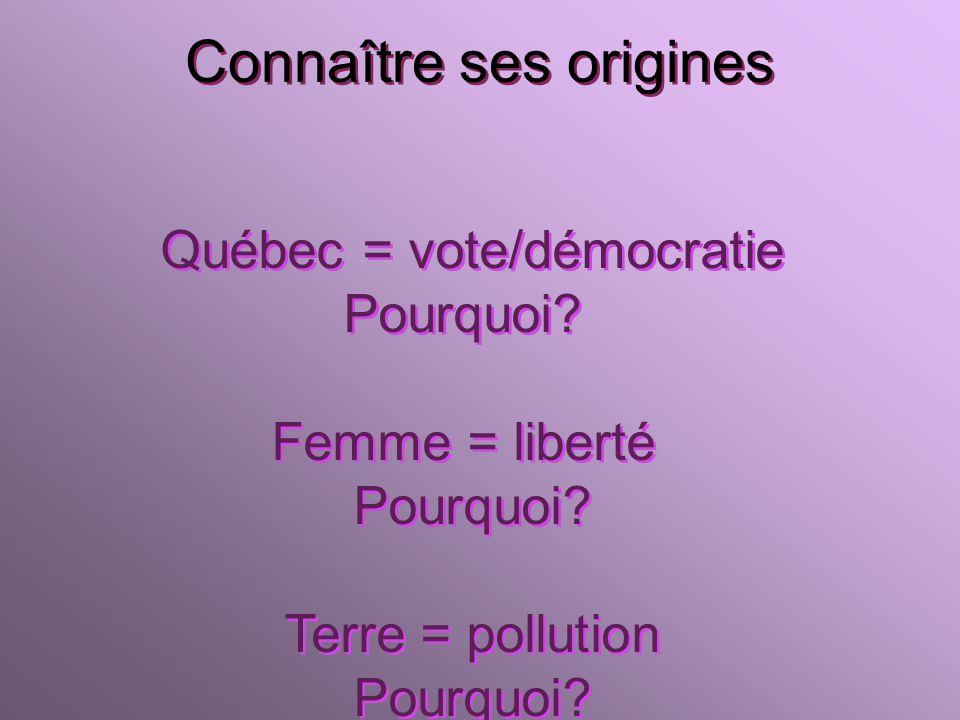 Connaître ses origines Québec = vote/démocratie Pourquoi.