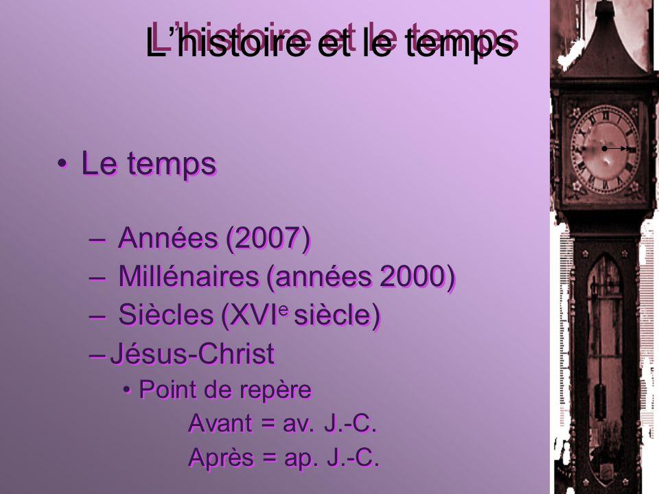 Lhistoire et le temps Le temps – Années (2007) – Millénaires (années 2000) – Siècles (XVI e siècle) –Jésus-Christ Point de repère Avant = av.