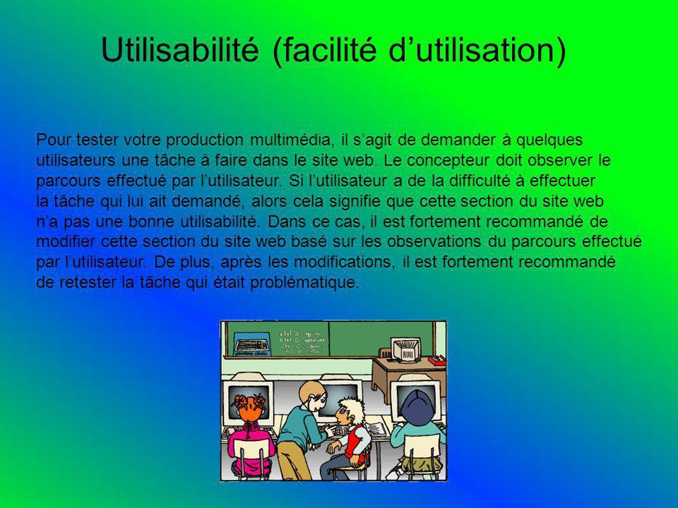 Utilisabilité (facilité dutilisation) Pour tester votre production multimédia, il sagit de demander à quelques utilisateurs une tâche à faire dans le site web.