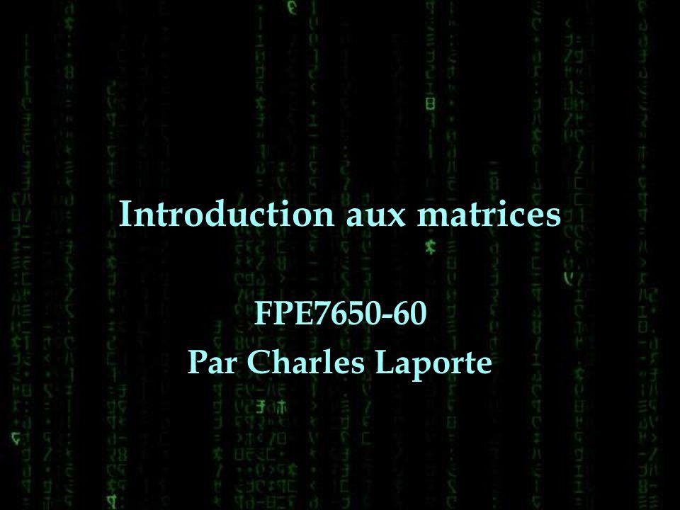 Plan de la présentation Définition de matrice avec exemple Format dune matrice Adressage Exercices de révision