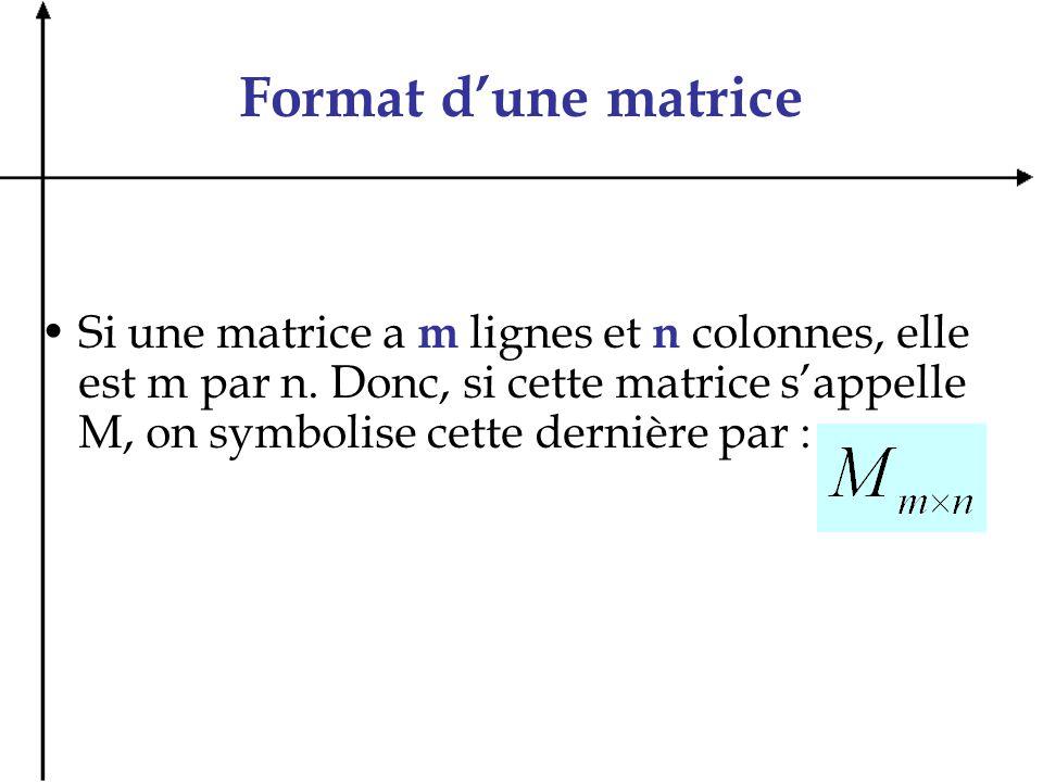 Format dune matrice Si une matrice a m lignes et n colonnes, elle est m par n. Donc, si cette matrice sappelle M, on symbolise cette dernière par :