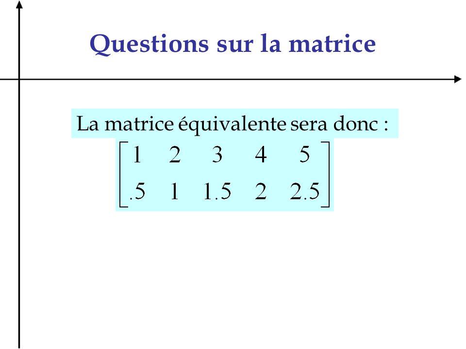 Questions sur la matrice La matrice équivalente sera donc :