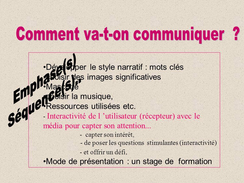 Développer le style narratif : mots clés choisir des images significatives Mascotte choisir la musique, Ressources utilisées etc. - Interactivité de l