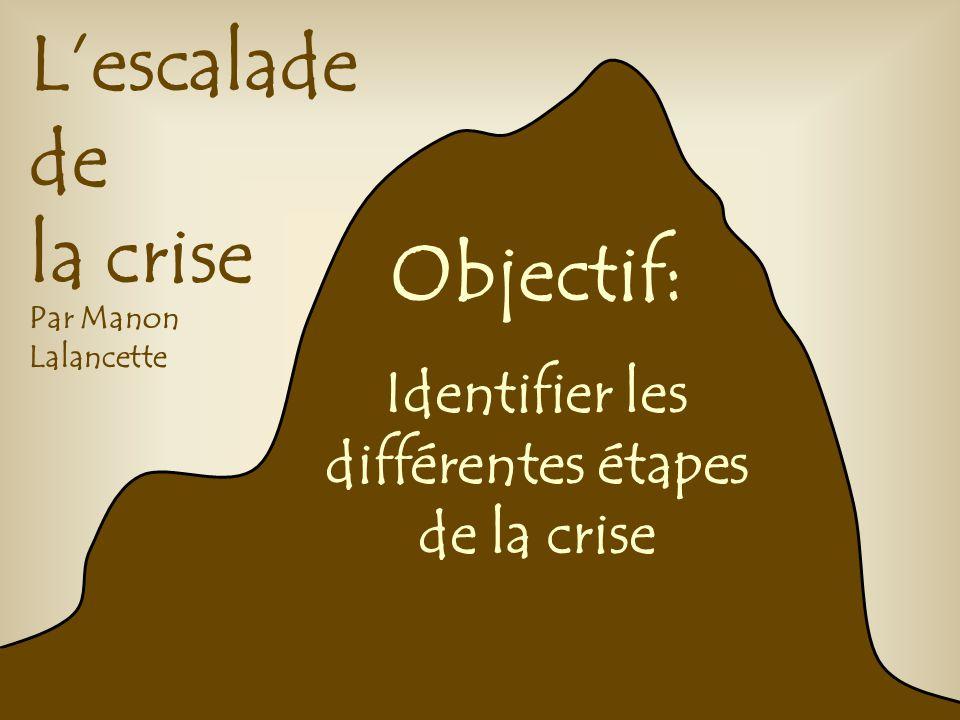 Lescalade de la crise Par Manon Lalancette Objectif: Identifier les différentes étapes de la crise