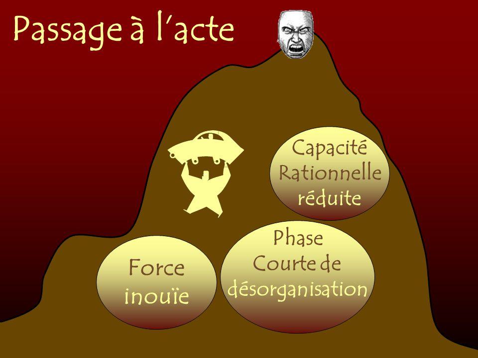 Passage à lacte Phase Courte de désorganisation Force inouïe Capacité Rationnelle réduite