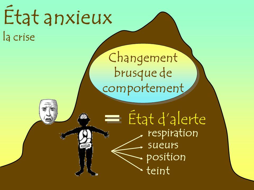 État anxieux la crise Changement brusque de comportement Changement brusque de comportement État dalerte respiration sueurs position teint