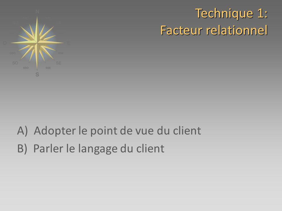 Technique 1: Facteur relationnel A) Adopter le point de vue du client B) Parler le langage du client