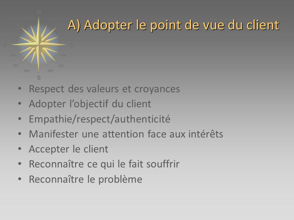 A) Adopter le point de vue du client Respect des valeurs et croyances Adopter lobjectif du client Empathie/respect/authenticité Manifester une attention face aux intérêts Accepter le client Reconnaître ce qui le fait souffrir Reconnaître le problème