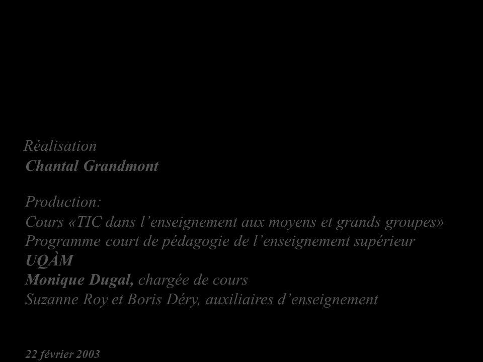 Réalisation Chantal Grandmont Production: Cours «TIC dans lenseignement aux moyens et grands groupes» Programme court de pédagogie de lenseignement supérieur UQÀM Monique Dugal, chargée de cours Suzanne Roy et Boris Déry, auxiliaires denseignement 22 février 2003