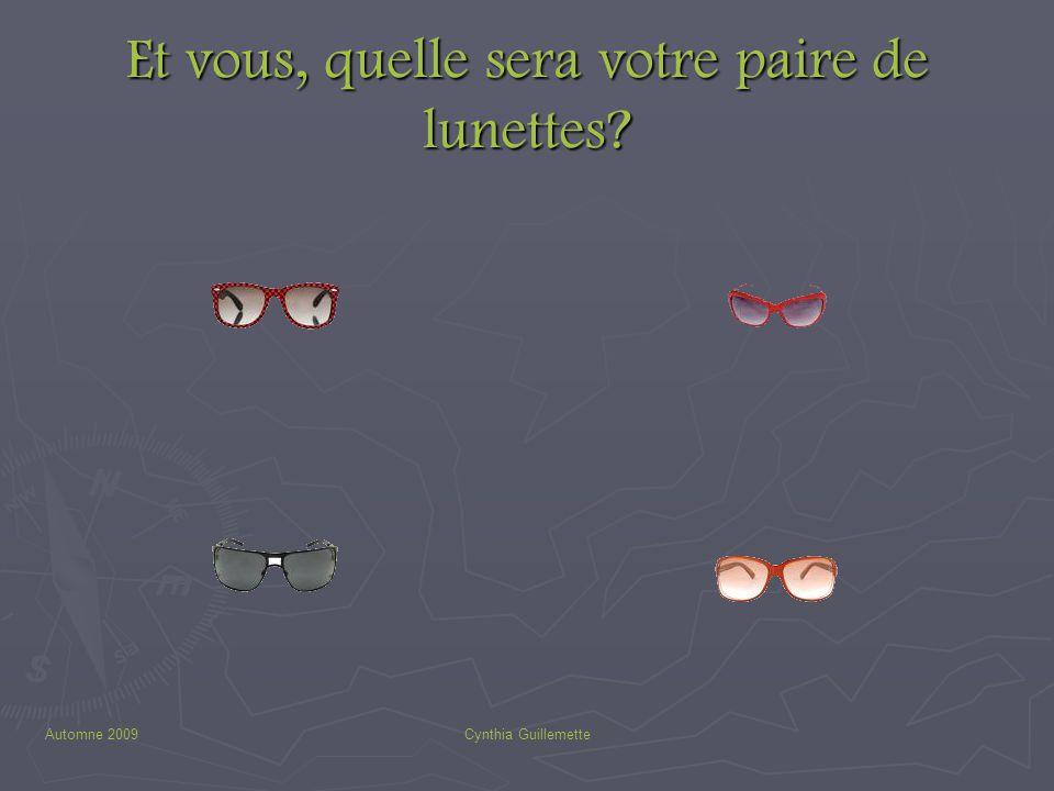 Automne 2009Cynthia Guillemette Et vous, quelle sera votre paire de lunettes?