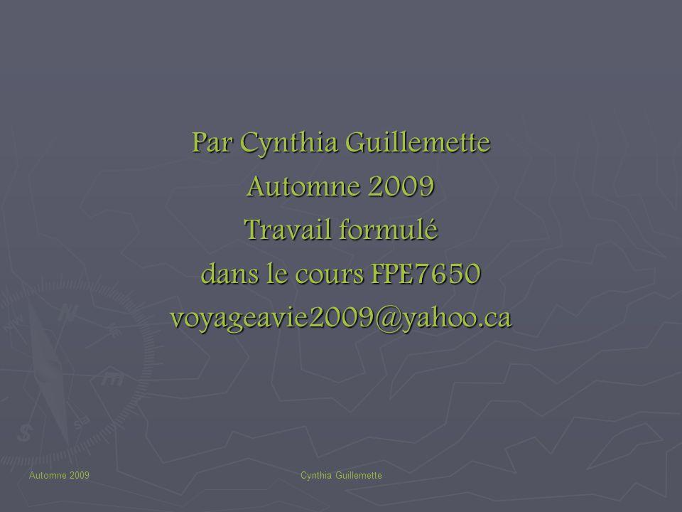 Automne 2009Cynthia Guillemette Par Cynthia Guillemette Automne 2009 Travail formulé dans le cours FPE7650 voyageavie2009@yahoo.ca