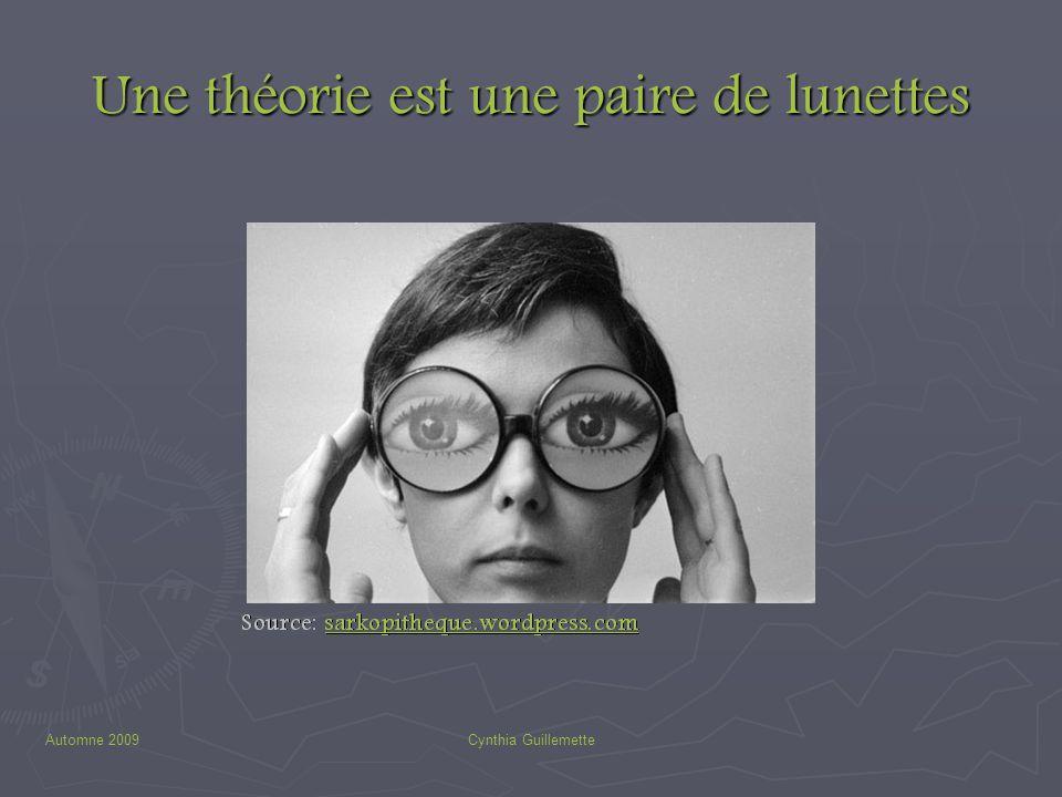 Automne 2009Cynthia Guillemette Une théorie est une paire de lunettes