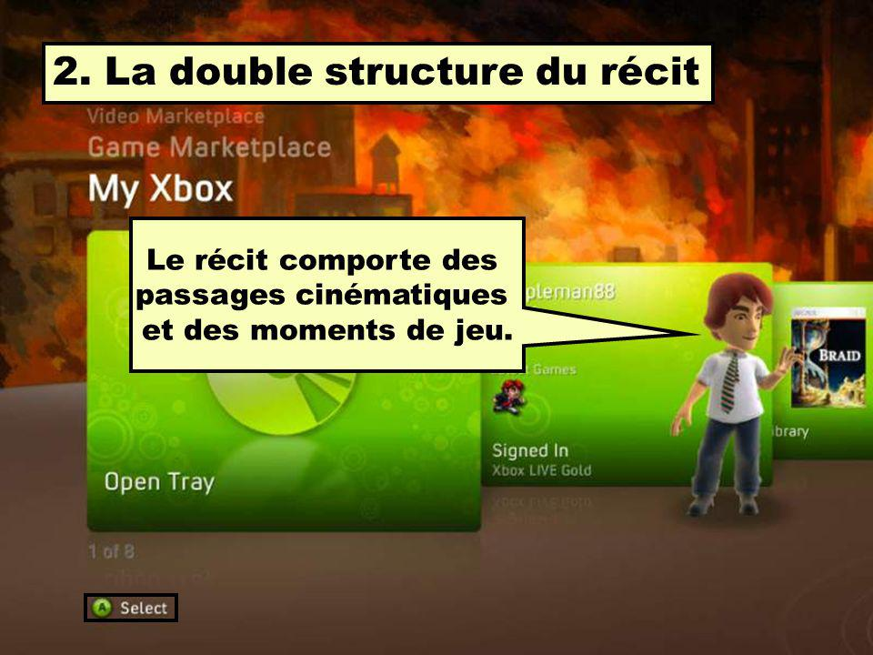 2. La double structure du récit Le récit comporte des passages cinématiques et des moments de jeu.
